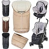 2IN1 Winterfußsack 0 bis 36 Monate für Babyschale/Kinderwagenschale/Kinderwagen/Buggy Schwarz/Hellgrau