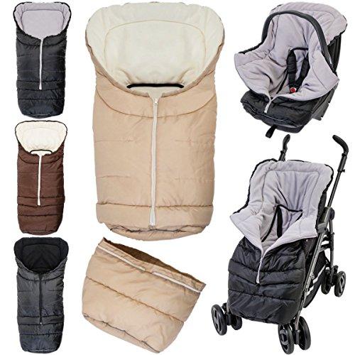 2in1 Winterfußsack (0 bis 36 Monate) für Babyschale/Kinderwagenschale/Kinderwagen/Buggy (Schwarz/Hellgrau)