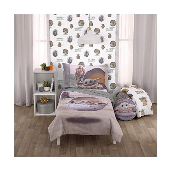 "Star Wars The Mandalorian""The Child"" Green, Tan, White 4 Piece Toddler Bed Set – Comforter, Fitted Bottom Sheet, Flat Top Sheet, Reversible Pillowcase"