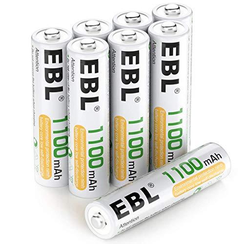 EBL Micro AAA Akku 1100mAh - 1.2V NI-MH Akkubatterien, geringe Selbstentladung, 8 Stück AAA Batterien