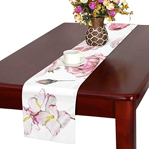 QIAOLII Set Elements Rose Collection Gartentischläufer, Küche Esstischläufer 16 X 72 Zoll Für...