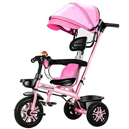 riciclo Bambini, Evolutivo Niño 4 EN 1 Triciclo para Niños +18 Meses Pedales Asiento Giratorio con Capota Extraíble Plegable Barra Telescópica para Padres Triciclo de Empuje, Pink