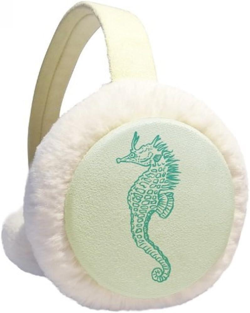 Hippocampus Marine Life Blue Pattern Winter Ear Warmer Cable Knit Furry Fleece Earmuff Outdoor