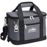 Outrav Black Insulated Cooler Bag – 6L Collapsible Thermal Lunch Bag with Bottle Opener, 16 Can Capacity – Perfect for Camping, Picnics and Travel - Handles and Removable Shoulder Strap