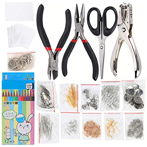 Shrink Sheet Kit, Heat Shrink Plastic Sheet Kit Included 12 Colored Pencils, Pliers, Shrinky Art Paper for DIY Keychain