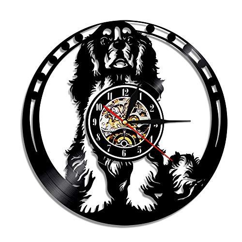 Usmnxo Cavalier Clock Hound Dog decoración del hogar Reloj para Cachorros diseñado para Animales Reloj de Pared con Discos de Vinilo de Cuarzo con luz LED de 12 Pulgadas (30 cm)