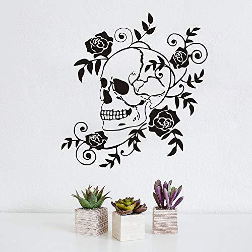 Pegatina de pared de flores peligrosas, decoración del hogar, rosas, arte con flores, calavera, calcomanías de pared, murales artísticos, decoración de habitación, A6, 45x43cm