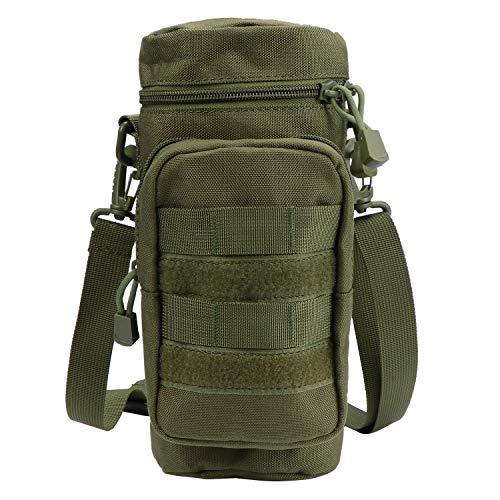 TsunNee Tactical Molle Bolsa para botella de agua, soporte de hidratación con bolsa de accesorios extra y correa de hombro desmontable para bicicleta deportiva militar, verde militar