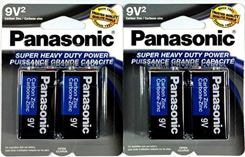 4Pc Size 9V Panasonic Batteries Super Heavy Duty Power Zinc Carbon