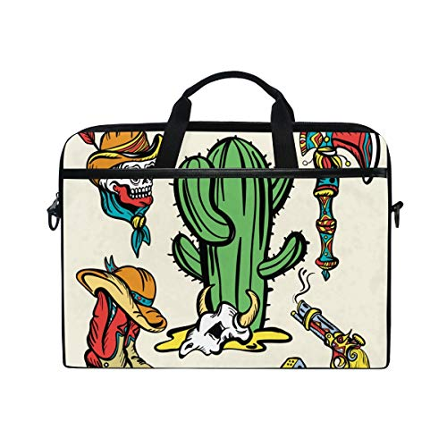 FOURFOOL 15-15.6 inch Laptop Bag,Wild West Old School Tattoo Vector,New Canvas Print Pattern Briefcase Laptop Shoulder Messenger Handbag Case Sleeve