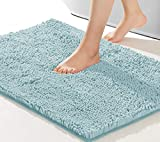 NNEYYOP Non Slip Bath Mat,Soft and Cozy Bathroom Rug,Machine Wash and Dry,Super Absorbent Shaggy Durable Thick Bath Rugs,Suitable for Bathtubs,Rain Showers and Under The Sink,44×26 Inch,Spa Blue