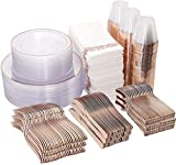 DaYammi 50 Guests Rose Gold Dinnerware Set -100 Clear Rose Gold Plastic Plates-150 Rose Gold Plastic Silverware-50 Rose Gold Disposable Cups-50 Linen Like Paper Napkins