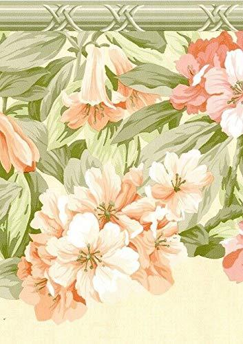 Dundee Deco BD6017 Tapeten Bordüre, vorgeklebt, Blumenmuster, Beige, Pink, Grün, Blumen auf Ranke, Wandbordüre, Tapetenbordüre Retro-Design, 4,57 m x 25,65 cm