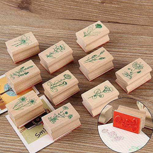 Holzstempelset zum Basteln, 10 PCS Gummi Holz Vintage Holzstempel, ideal zum Verzieren von Karten, für Lettering und Scrapbooking, Natürliche Pflanze Seal Set, 4 x 2cm