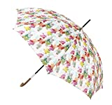 Paraguas Vogue Estampado Floral. Paraguas Mujer Original y Elegante. Paraguas automático, protección Solar y antiviento. (Estampado Flores Tonos Arco Iris)