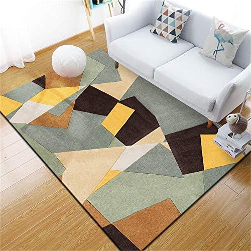 WQ-BBB Alfonbras De Dormitorios Suave Diseño de Estilo geométrico 3D Negro Gris Amarillo marrón alfombras pequeñas 50X80cm