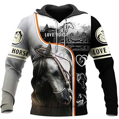 Animal Horse 3D Print Tattoo Streetwear Chándal de Manga Larga Moda Otoño Casual Pullover Zipper Hoodies...