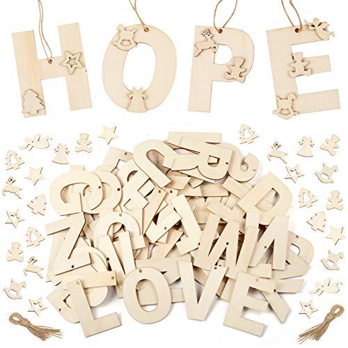 Pllieay - Lettere in legno da 7,9 cm e mini fette in legno per lettere, decorazione da parete, fai da te dipinte e educative, 162 pezzi