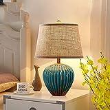 ETH lámpara de mesa D10xH50cm Retro Lámpara Del Dormitorio De La Lámpara De Noche Moderna De Estados Unidos Sala De Estar Minimalista De Estilo Europeo De Cerámica Nórdica Sitio De La Unión Matrimonia