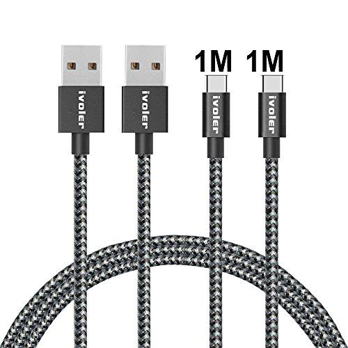 ivoler Cable USB Tipo C a USB A 3.0 [2 Pack: 1M+1M] Cargador USB Tipo C de Nylon Trenzado Carga Rápida y Sincronización Compatible con Samsung, Huawei y Más (Negro)