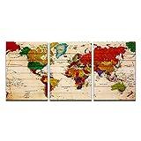 Mapa del mundo de National Geographic, carteles e impresiones artísticos en lienzo, pinturas en lienzo en la pared, imágenes artísticas, decoración de la pared del hogar,50x70cmx3 sin marco