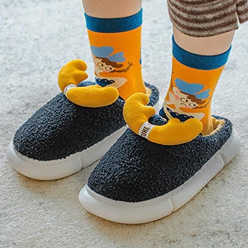 Zapatillas Estar por Casa Hombre Invierno,Zapatillas De AlgodóN para NiñOs De OtoñO E Invierno, Hombres Y Mujeres De Fondo Grueso De Fondo Suave Suave LeóN Pareja Anti-Diapositiva Hogar Defertia Tran