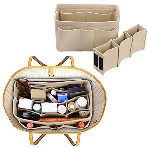 Xiton Taschenorganizer Filz,Organizer Tasche,Taschen organisator für Handtaschen Makeup Organizer Geldbörse für Speedy 30 Neverfull MM Large für Taschen ab 30cm Innenmaß - Khaki