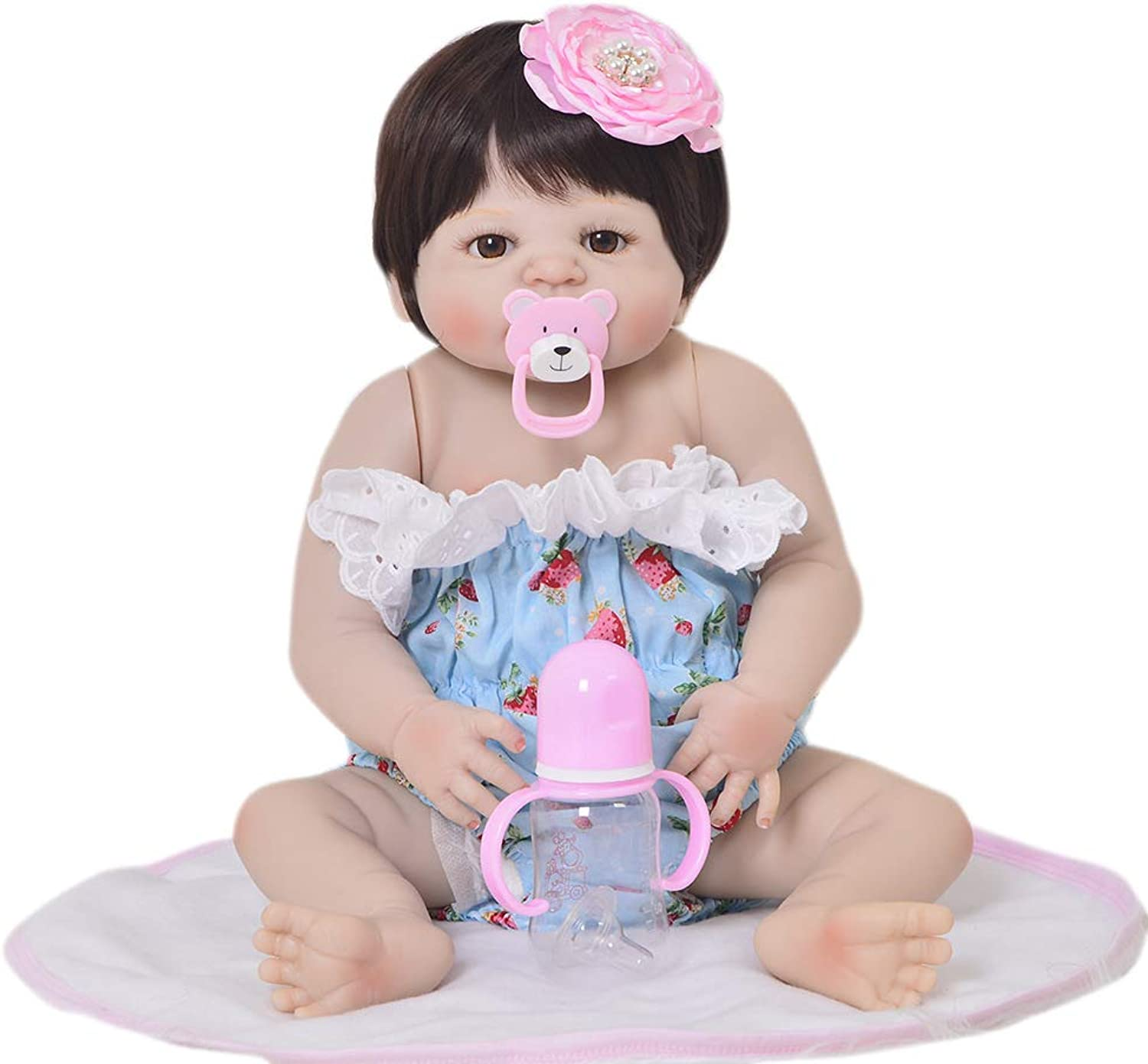 JUNMAO 22 Inch Lifelike Reborn Baby Dolls Girls Handmade Soft Silicone Realistic Newborn Baby Doll with Strawberry Clothes & Accessories, Gifts and Playmates for Kids Age 3+ (bluee, 55CM)