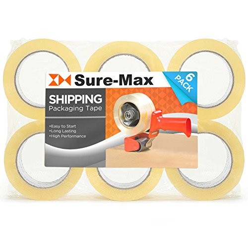 Sure-Max 6 Rolls Extra-Wide Shipping & Packing Tape (3' x 110 yard/330' Each) - Moving & Adhesive Carton Sealing - 2.0mil Clear