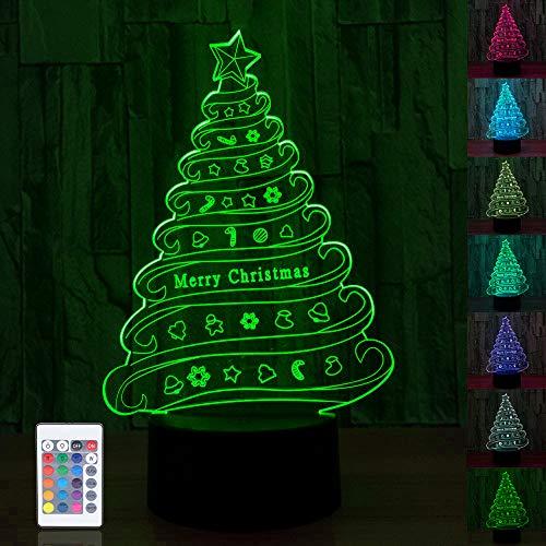 3D Weihnachtsbaum LED Nachtlicht,kreative 3D Illusion Weihnachtsbaum Effekt USB Lade LED Nachtlampe mit 16 Farben für Home Dekorationen,Touch Tisch Schreibtischlampe,Spielzeug und Geschenke für Kinder