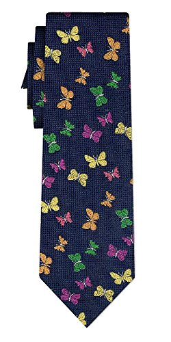 Générique cravate butterflies navy yel orange