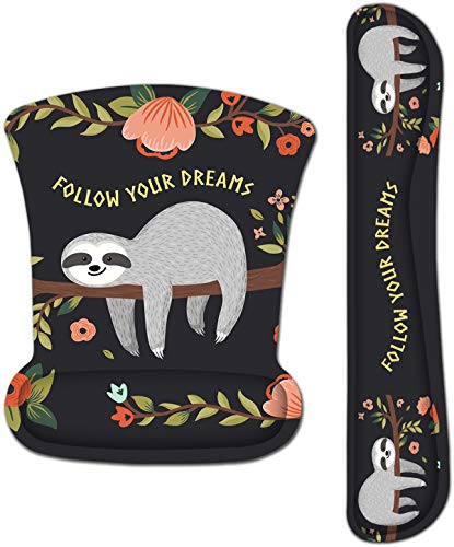 iColor Keyboard Wrist Rest Pad and Mouse Wrist Rest Support Set, Ergonomic Memory Foam Mouse Pad for Gaming Office PC Computer Laptop,Non Slip Rubber Desk Pad Relief Pain (Cute Sloth)