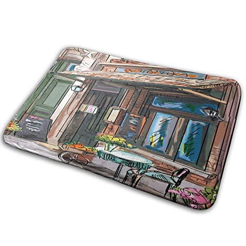 RUBEITA Tapis de Tapis de Salle de Bain antidérapant,City Street Paris Cafe Manger Imprimer,Tapis de Bain Moderne en Microfibre Tapis de Tapis de Bain Doux,29.5\