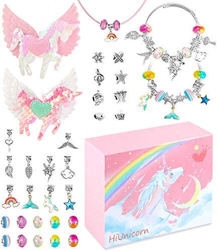 HiUnicorn Lazos para el pelo de unicornio y pulseras abalorios hacer manualidades, horquillas con purpurina, perlas colores, bonitos juegos joyas colgantes caja regalo Navidad fiesta cumpleaños