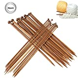 Natuce 36Pcs 18 tamaños Agujas de tejer de bambú (2.0mm a 10.0mm), Agujas de Madera, Agujas de Punto, para Suéter, Proyecto de Encajes y Flores- Mejor Set Principiantes y Profesionales