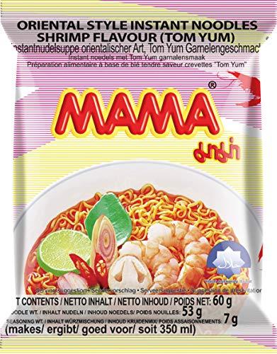 MAMA Instantnudeln Tom Yum mit Shrimpsgeschmack – Instantnudelsuppe orientalischer Art – Authentisch thailändisch kochen – 30 x 60 g