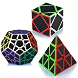 Maomaoyu Cubo Magico Pack, Pyraminx Piramide Cubo+Megaminx Speed Cube+Skewb Puzzle, Cubo de la Velocidad Fibra De Carbono Caja de Regalo de 3 Piezas Set Negro