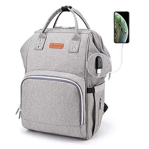 Ramotto Mochila de Pañales, Bolsa de Pañales Multifuncional de Gran Capacidad, Bolsos Cambiadores Pañales con USB Puerto de Carga 2 Ganchos de Cochecito y Bolsa de Preservación de Calor (Gris)