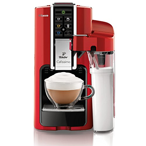 Tchibo Saeco Cafissimo Latte Kapselmaschine (für Kaffee, Espresso,Caffé Crema,Latte Macchiato,Cappuccino oder Tee), rot