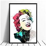 cuadros decoracion salon Estrella de cine Marilyn Canvas Wall Art HD Monroe Prints Poster Lady Decoración del hogar Pintura para dormitorio Imágenes modulares 19.7x27.6in (50x70cm) x1pcs Sin marco