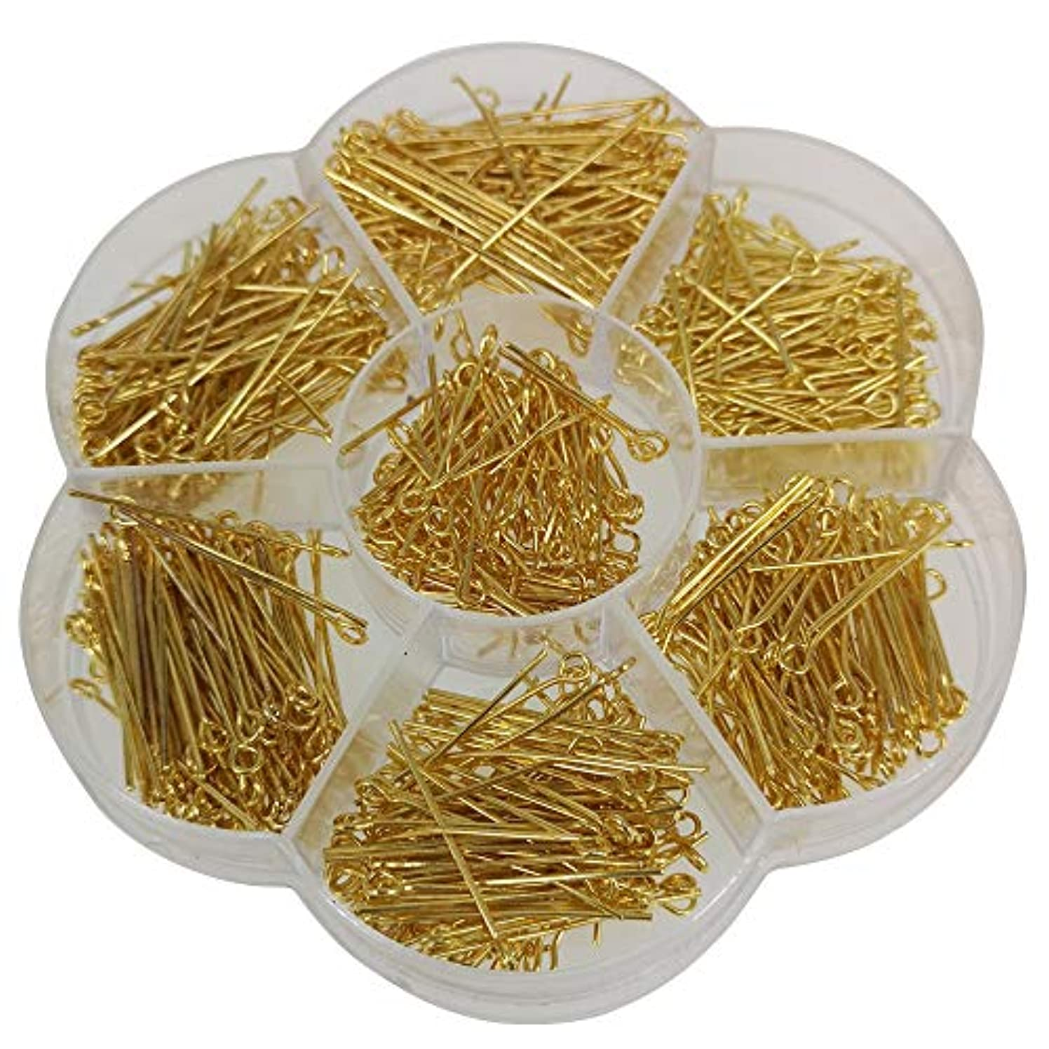 Chenkou Craft 700pcs Assorted of 7 Sizes Gold Mix Eye Pins for Jewelry Making (Gold, Mix)