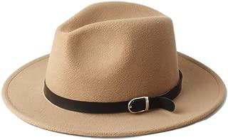 Fedora Cap Winter Men Women Fedora Hat with Black Leather Belt Wide Brim Jazz Hat Panama Fascinator Hat Size 56-58CM Felt hat (Color : Khaki, Size : 56-58)