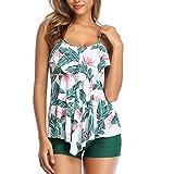 Traje de Baño Mujer 2 Piezas Flores Impresión Tankini Push Up Vest y Short Bañador Conjunto,Bikini Set Conservador con Patrón Floral Pantalones Cortos Negros para el Establecimiento Cubrir el Vientre