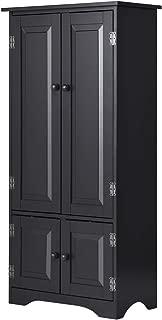 Giantex Accent Floor Storage Cabinet Adjustable Shelves Antique 2-Door Low Floor Cabinet Pantry 24