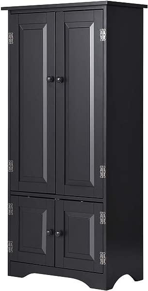 Giantex Accent Floor Storage Cabinet Adjustable Shelves Antique 2 Door Low Floor Cabinet Pantry 24 Lx13 Wx49 H Black