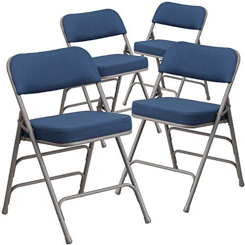 Flash Furniture 4 Pack HERCULES Series Premium Curved Triple Braced & Double Hinged Navy Fabric Metal Folding Chair