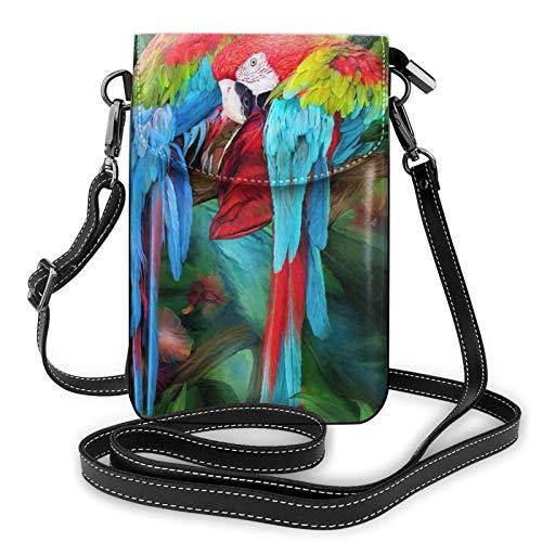 Bolso ligero del teléfono celular de la PU, bolso pequeño del bolso del hombro de los loros de dos colores para las mujeres, color Negro, talla Talla única