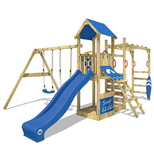 WICKEY Spielturm Kletterturm mit Doppelschaukel, Sandkasten und Hangelbrücke \'Smart Dock\' - blaue Rutsche, blaue Plane