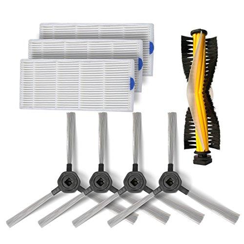 Verbrauchsmaterialien -Zubehörteile für Dibea D960 Saugroboter,drei waschbare HEPA Filters, zwei Paar Seitenbürste und eine Borsten-Rollenbürste