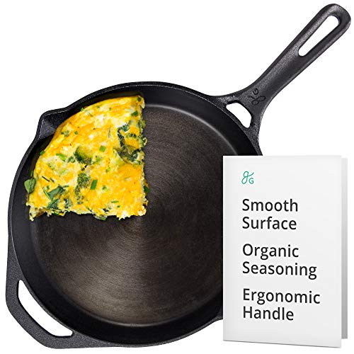 Greater Goods 10 Inch Cast Iron Skillet | Cook Like a Pro with Smooth Milled, Organically...
